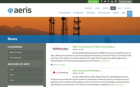 Screenshot of Press Page aeris.com - M2M Technology & Solutions - Partners | Aeris - captured Nov. 2, 2014