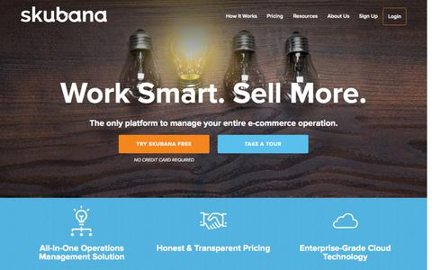 Screenshot of Home Page skubana.com - Skubana, All-in-One e-Commerce Solutions - captured June 17, 2015