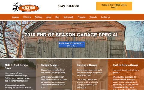 Screenshot of Home Page westernconstructioninc.com - Garage Builders MN   Minneapolis, St Paul, Twin Cities - captured Jan. 10, 2016