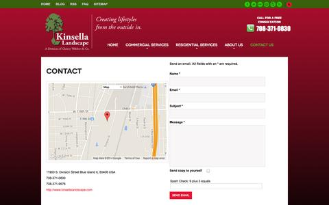 Screenshot of Contact Page Locations Page kinsellalandscape.com - Contact us - captured Oct. 23, 2014