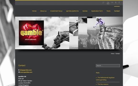 Screenshot of Contact Page qamble.com - qamble funding and entertainment | qamble games | qamble poker & casino - captured Oct. 3, 2014