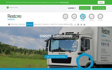 Screenshot of Services Page restore.co.uk - Onsite Shredding Services - captured Sept. 26, 2018