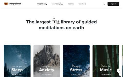 Screenshot of Home Page insighttimer.com - Insight Timer - #1 Free Meditation App for Sleep, Relax & More - captured Jan. 19, 2020