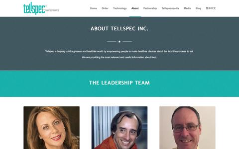 Screenshot of About Page Team Page tellspec.com - TellSpec |   About Us - captured Feb. 14, 2016
