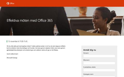 Screenshot of Landing Page office.com - Effektiva möten med Office 365 - captured Nov. 2, 2016