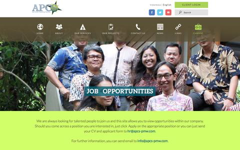 Screenshot of Jobs Page apcs-pmw.com - Career | Asia Pacific Consulting Solutions - captured Oct. 16, 2016