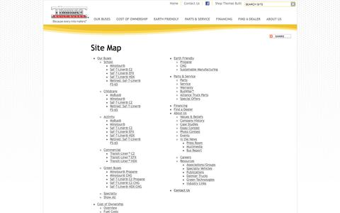 Screenshot of Site Map Page thomasbus.com - Sitemap - Thomas Built Buses - captured Feb. 16, 2016
