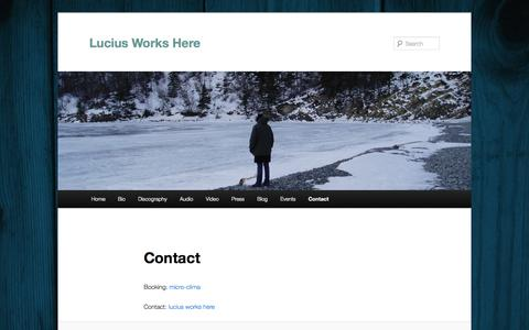 Screenshot of Contact Page luciusworkshere.com - Contact | Lucius Works Here - captured Sept. 30, 2014