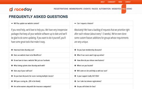 Screenshot of FAQ Page getraceday.com - Raceday FAQ Frequently Asked Questions | Raceday Motorsports - captured Oct. 18, 2018