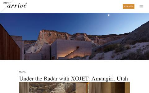 Screenshot of Blog xojet.com - Amangiri, Utah Under the Radar | XOJET Arrivé - captured May 15, 2018