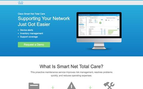 Screenshot of Landing Page cisco.com - Cisco Smart Net Total Care - captured Aug. 26, 2016