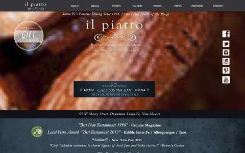 Screenshot of Home Page ilpiattosantafe.com - il piatto santa fe - captured Oct. 6, 2014