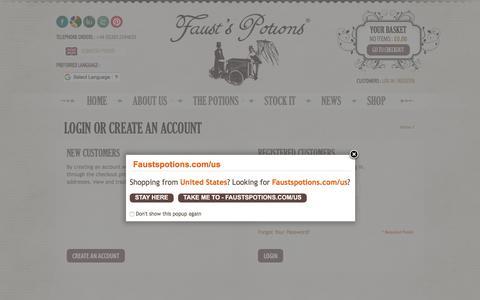Screenshot of Login Page faustspotions.com - Customer Login - captured Oct. 13, 2017