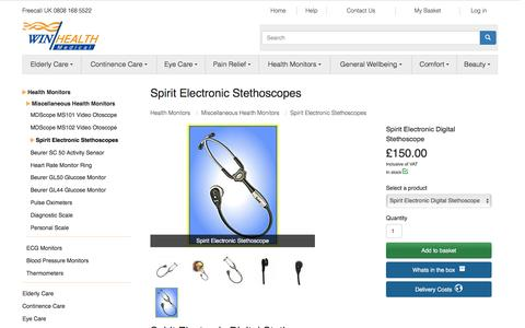 Screenshot of win-health.com - Spirit Electronic Stethoscopes | Win Health Medical - captured April 1, 2016
