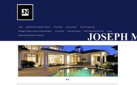 Screenshot of Home Page josephmnavon.com - JOSEPH M. NAVON Properties - Houston Real Estate Broker - Houston Texas Real Estate Broker - captured Oct. 6, 2014