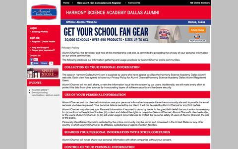 Screenshot of Privacy Page harmonydallasalumni.com - Harmony Science Academy Dallas Alumni - Privacy Policy - captured March 4, 2016