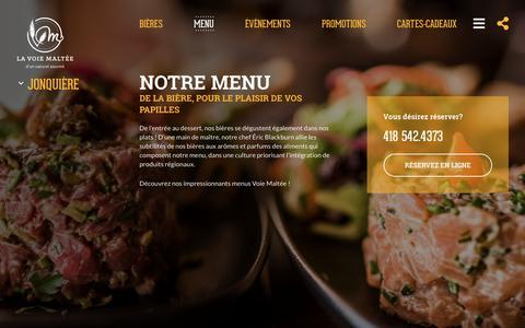 Screenshot of Menu Page lavoiemaltee.com - Menu - La Voie Maltée - captured Sept. 26, 2018