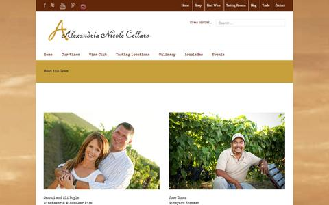 Screenshot of Team Page alexandrianicolecellars.com - Meet the Team - Alexandria Nicole Cellars - captured Sept. 30, 2014