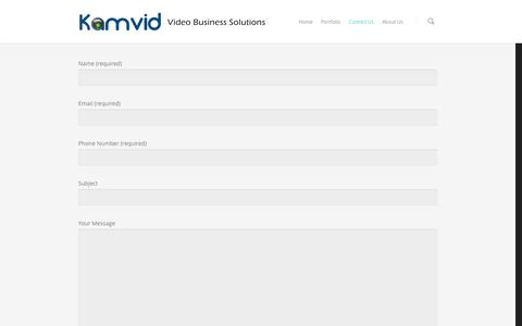 Screenshot of Contact Page kamvid.com - Let's Get Started! |  Kamvid – Video Business Solutions - captured Oct. 6, 2014