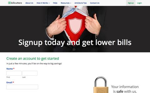 Screenshot of Signup Page billcutterz.com - Sign up with BillCutterz and get lower bills - captured Sept. 16, 2016
