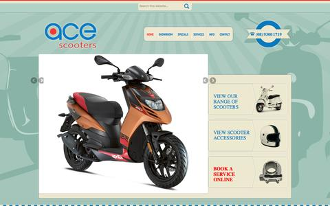 Screenshot of Home Page acescooters.com.au - Scooters For Sale in Perth – Huge Range Of Scooters - Ace Scooters - captured July 24, 2016
