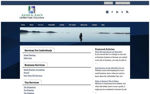 Screenshot of Services Page akinsamoscpa.com - Cumming GA Accounting | Tax, Financial and Business Consultations | Akins & Amos CPA - captured Oct. 4, 2014