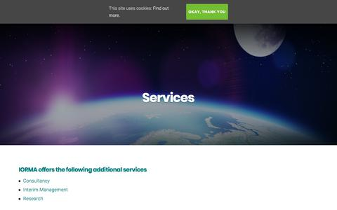 Screenshot of Services Page iorma.com - Services – IORMA | Consumer Commerce Centre - captured July 27, 2018