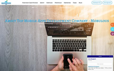 Screenshot of About Page mobulous.com - About Top Mobile Apps Development Company - Mobulous - captured July 4, 2018