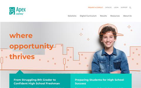 Screenshot of Home Page apexlearning.com - Apex Learning | Where opportunity thrives - captured Aug. 22, 2019