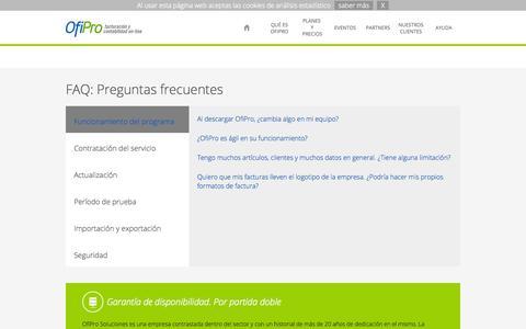 Screenshot of FAQ Page ofipro.es - Faq - captured Oct. 26, 2014