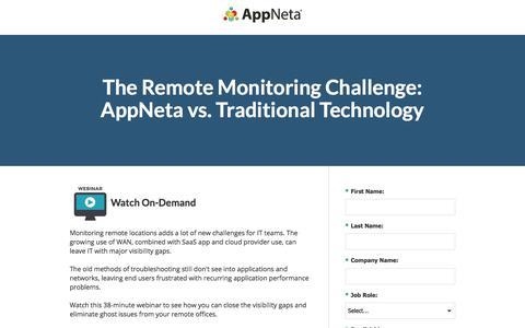 Screenshot of Landing Page appneta.com - The Remote Monitoring Challenge: AppNeta vs. Traditional Tech - captured March 1, 2018