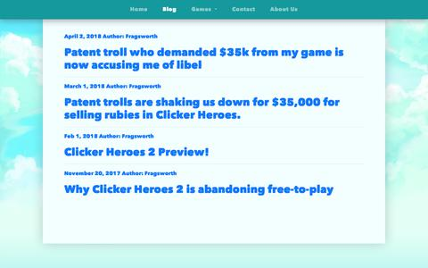Screenshot of Blog playsaurus.com - Playsaurus - captured Sept. 28, 2018