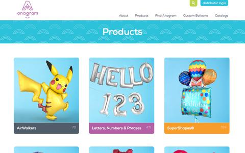 Screenshot of Products Page anagramballoons.com - Anagram - Products - captured Oct. 8, 2017