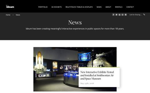 Screenshot of Press Page ideum.com - News - the latest from our interactive design team | Ideum - captured Aug. 5, 2018