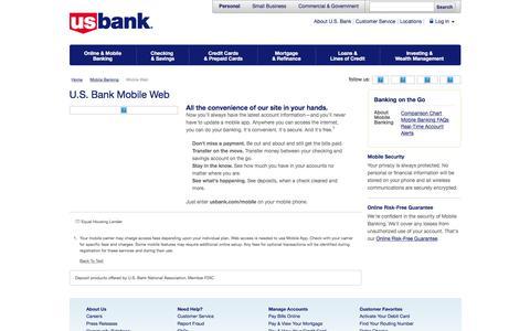 Mobile Web | Mobile Banking | U.S. Bank
