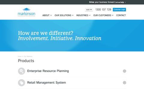 Screenshot of Products Page markinson.com.au - Solutions | Enterprise Resource Planning (ERP) Software Solutions, ERP Systems, ERP Software, Point of Sale Software, Retail Management, CRM Software, Business Process Management,  Inventory Management Software - captured Feb. 12, 2016