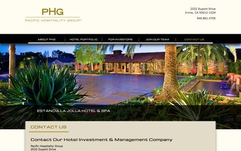 Screenshot of Contact Page pacifichospitality.com - Hotel Investment & Management Company | Contact Pacific Hospitality Group - captured Jan. 24, 2016