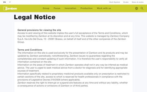 Screenshot of Terms Page zambon.com - Legal Notice | Zambon - captured Oct. 19, 2018