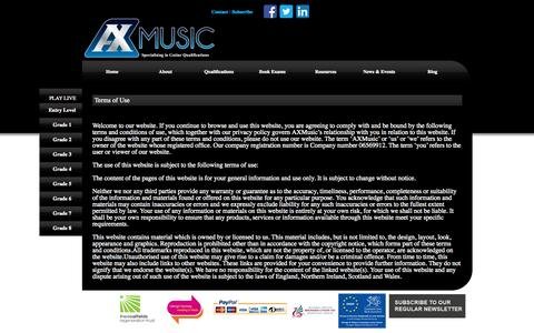 Screenshot of Terms Page axmusic.co.uk - AXMusic Guitar Exams Terms of Use AXMusic Guitar Exams - captured Sept. 30, 2014