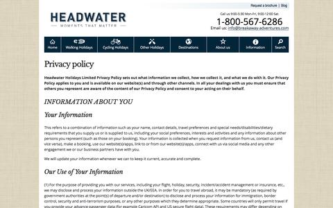 Screenshot of Privacy Page headwater.com - Headwater's privacy policy - captured Nov. 5, 2016