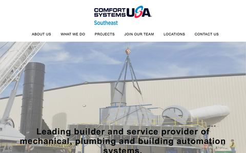 Screenshot of Home Page csusasoutheast.com - Home - Comfort Systems USA SE - captured July 13, 2019