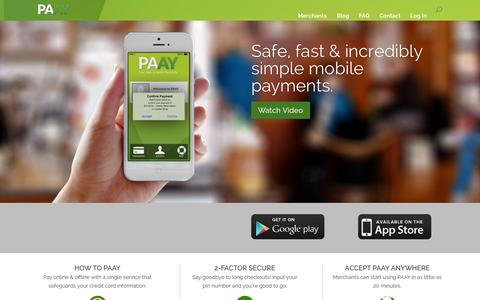 Screenshot of Home Page Login Page paay.co - PAAY | Payments Simplified & Secured - captured Sept. 17, 2014