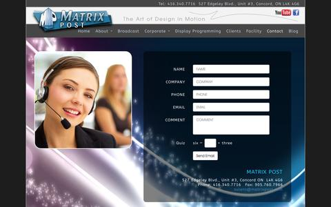 Screenshot of Contact Page matrixpost.com - Contact Matrix Post for Corporate videos, training videos and full service video production - captured Oct. 27, 2014