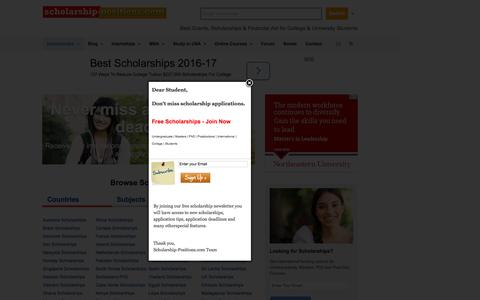 Screenshot of Home Page scholarship-positions.com - Scholarship Positions 2016 2017 for Undergraduate Masters PhD Courses Scholarship Positions 2016 2017 - captured Aug. 21, 2016