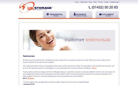 Screenshot of Testimonials Page ukstoragecompany.co.uk - Testimonials - UK Storage Company - captured May 26, 2017