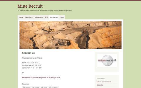 Screenshot of Contact Page mine-recruit.com - Contact us – Mine Recruit - captured Nov. 29, 2016