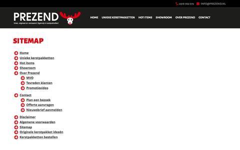 Screenshot of Site Map Page prezend.nl - Sitemap   Prezend kerstpakketten - captured July 16, 2016