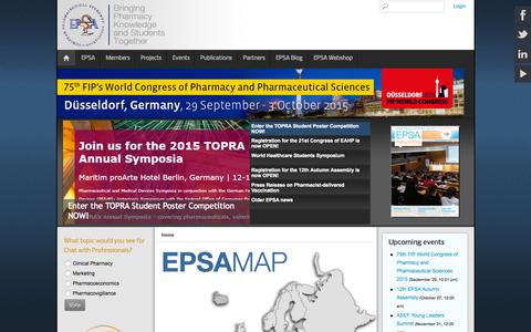 Screenshot of Home Page epsa-online.org - Home - captured Sept. 18, 2015