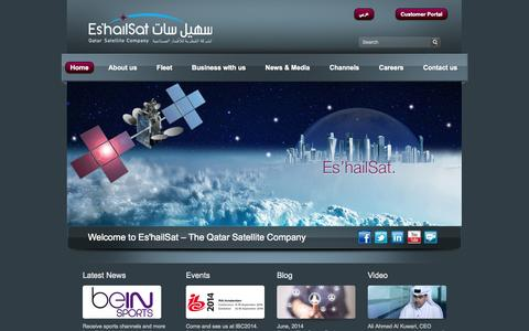 Screenshot of Home Page eshailsat.qa - Es'hailSat ::: Qatar Satellite Company - captured Oct. 2, 2014