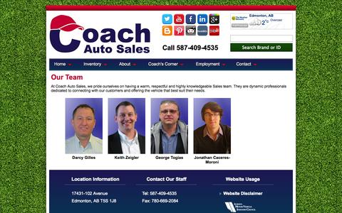 Screenshot of Team Page coachautosales.ca - Our Team at Edmonton Coach Auto Sales - captured Oct. 28, 2014